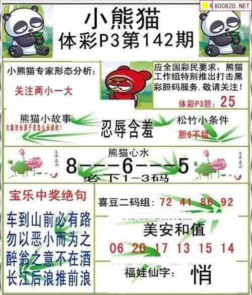 20142期体彩P3小熊猫图迷