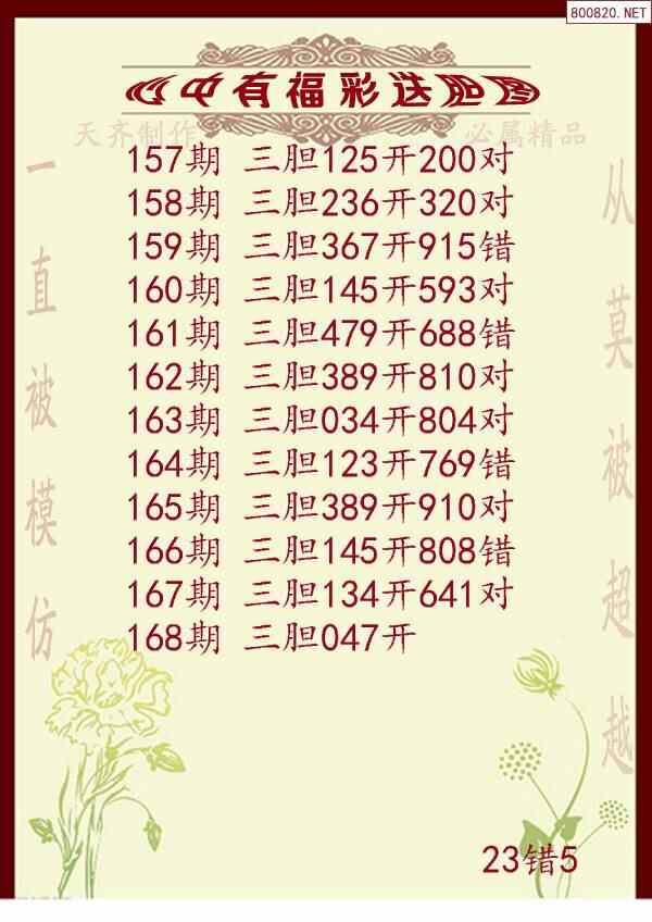 2020年168期心中有福福彩送胆图谜(天齐网原创)