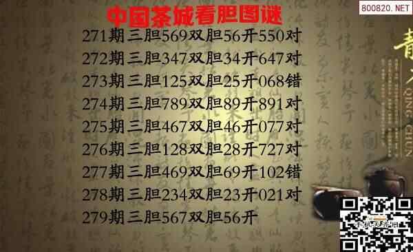 福彩3D第2020279期茶城胆码图谜-天齐原创